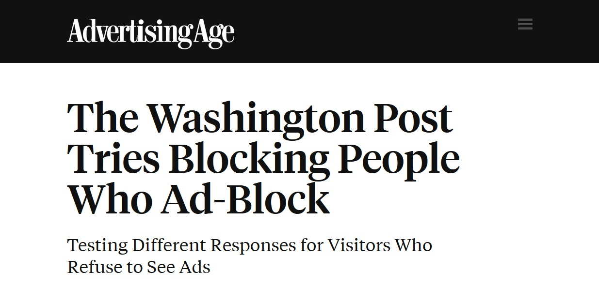 Washington Post Blocking adblock