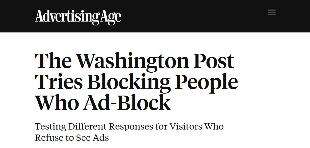 Washington Post Blocking adblock